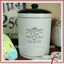 mini ceramic round wastebasket with lid for room
